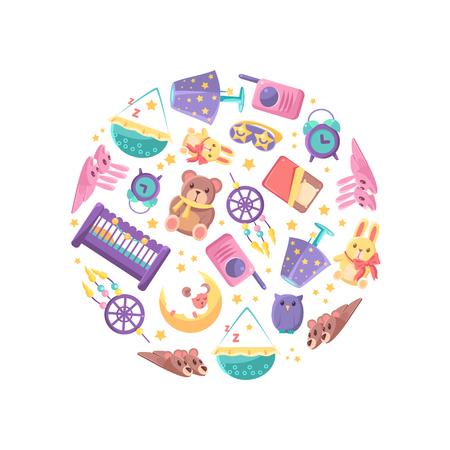 Marchandises pour bébés en forme circulaire, Baby Shop Design Element Vector Illustration sur fond blanc.