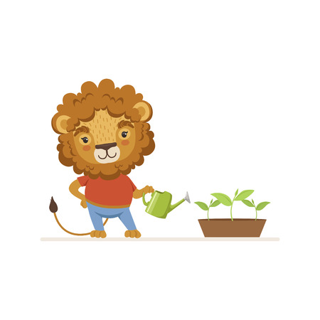 Cute Lion Gardener Character Watering Plant with Watering Can Vector Illustration on White Background.