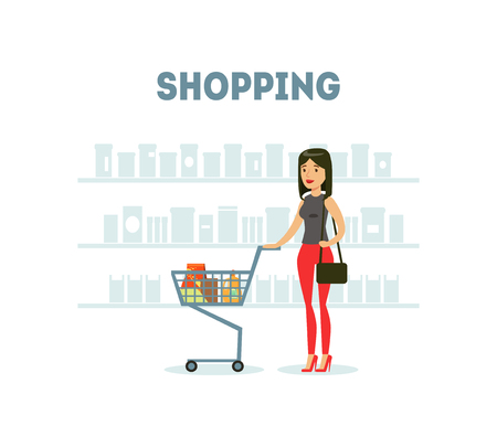 Female Buyer Shopping at Supermarket with Cart Full of Groceries, Daily Grocery Purchase Vector Illustration on White Background. Illustration