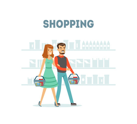 Family Couple Shopping at Supermarket with with Baskets, Daily Grocery Purchase Vector Illustration on White Background. Vektorové ilustrace