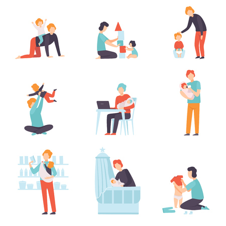 Fathers Taking Care of Their Babies Set, Young Dads Feeding, Playing, Having Fun and Working with Son or Daughter Vector Illustration on White Background.