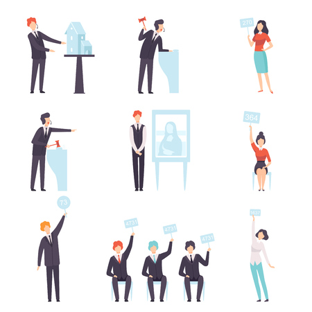 Auction Public Sale Set, People Bidding and Bying Goods and Property, Auctioneer Announcing Prices with Gavel Vector Illustration on White Background.