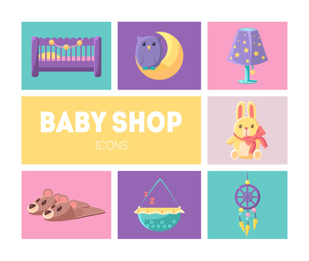 Cute Baby Shop Icons Set, Goods for Babies Design Elements Vector Illustration, Web Design