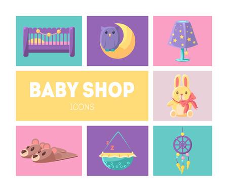 Cute Baby Shop Icons Set, Marchandises pour bébés Éléments de conception Vector Illustration, Web Design