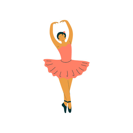 Beautiful Professional Ballerina Dancing Classical Ballet Dance Vector Illustration on White Background.