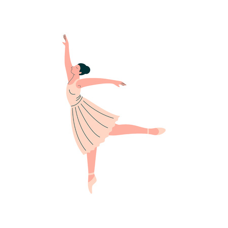 Professional Ballerina Wearing White Dress Dancing Classical Ballet Dance Vector Illustration on White Background.