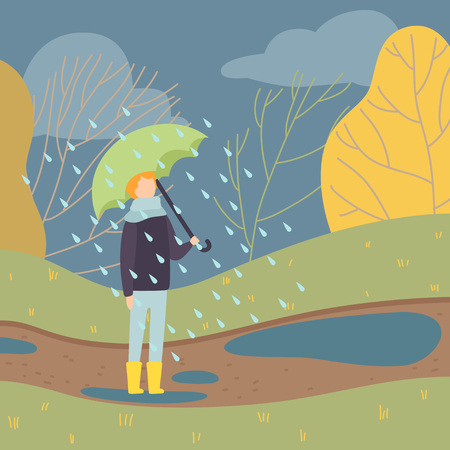 Boy Walking in Rain Under Umbrella, Teen Boy Standing on Autumn Season Background Vector Illustration in Flat Style.