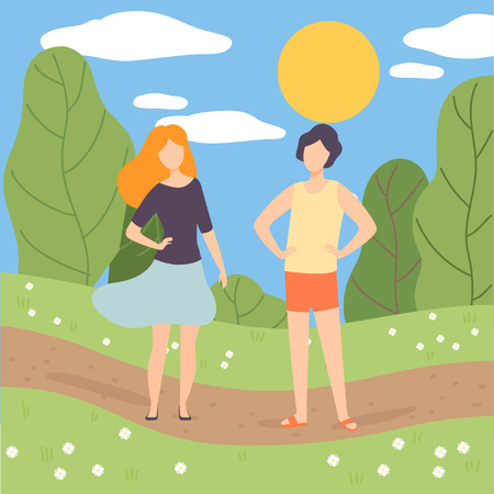 Young Man and Woman Walking in Park, People on Summer Season Background Vector Illustration in Flat Style. Illustration