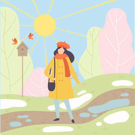 Young Woman Wearing Warm Clothes Standing on Spring Season Background, Season Change From Winter to Spring Vector Illustration in Flat Style. Banco de Imagens - 119432862