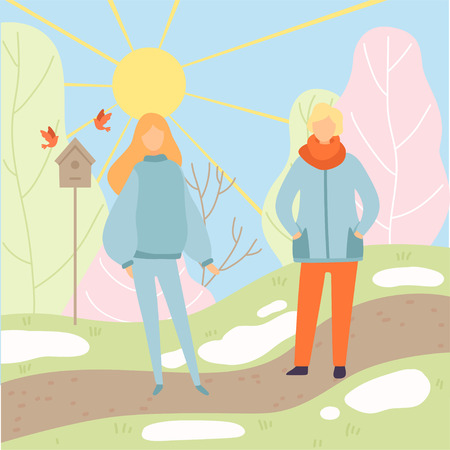 Young Man and Woman Wearing Warm Clothes Walking in Spring Park, Season Change From Winter to Spring Vector Illustration in Flat Style. Standard-Bild - 124262626