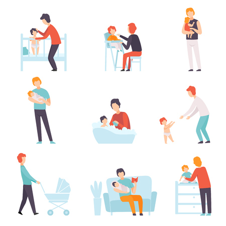 Fathers Taking Care of Their Babies Set, Young Dads Feeding, Playing, Walking with Son or Daughter Vector Illustration on White Background.
