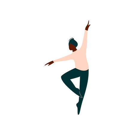 Professional African American Male Ballet Dancer Dancing Classical Ballet Dance Vector Illustration on White Background.
