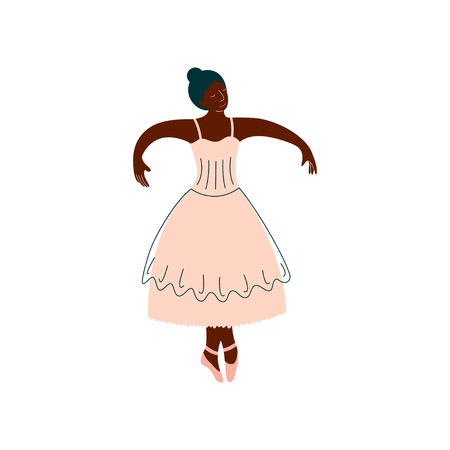 African American Ballerina in White Dress Dancing Classical Dance Vector Illustration on White Background.