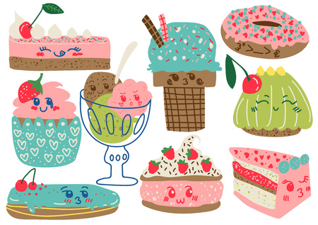 Delicious Desserts Set, Confectionery and Sweets, Cake, Ice Cream, Donut, Cupcake, Eclair Vector Illustration on White Background.