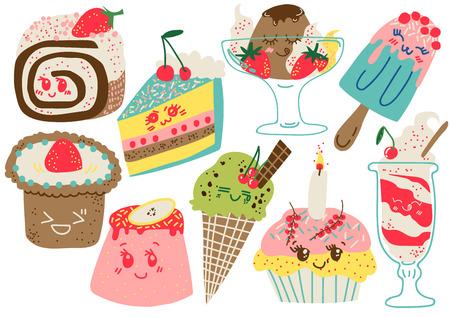 Köstliche Desserts, Süßwaren und Süßigkeiten, Kuchen, Cupcake-Vektor-Illustration