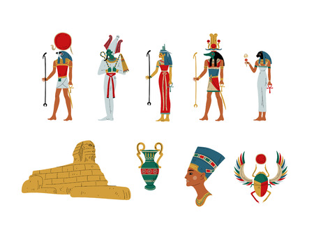 Egypt Ancient Symbols, Gods and Goddess Set Vector Illustration on White Background.