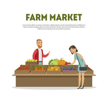 Farm Market, Cheerful Male Farmer Selling Vegetables on Stall Vector Illustration on White Background.