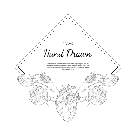 Hand Drawn Monochrome Frame with Rose Flowers and Human Heart Vector Illustration with Text Illustration