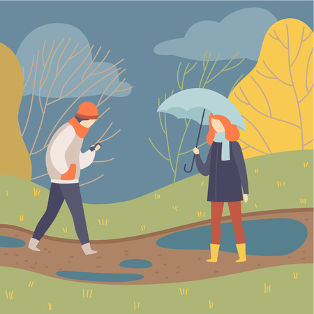 People Walking in Rain, Young Man and Woman on Autumn Season Background Vector Illustration in Flat Style. Illustration