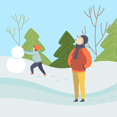 Boys Making Snowman, Winter Season Outdoor Activities, People on Background of Winter Landscape Vector Illustration in Flat Style.