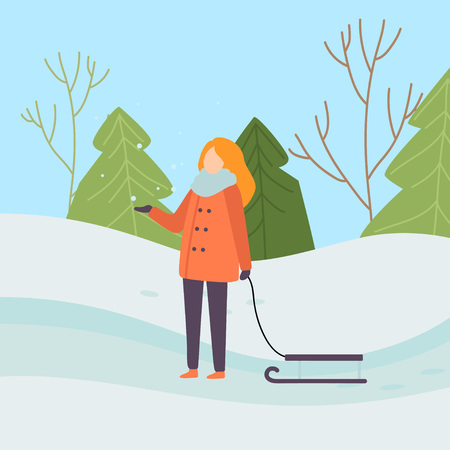 Girl Wearing Warm Winter Clothes Standing with Sledge on Background of Winter Landscape Vector Illustration in Flat Style.