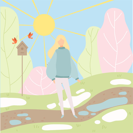 Young Woman Walking in Spring Park, Season Change From Winter to Spring Vector Illustration in Flat Style. Standard-Bild - 124262641