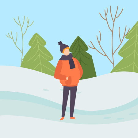Boy Wearing Warm Clothes on Background of Winter Landscape Vector Illustration in Flat Style.