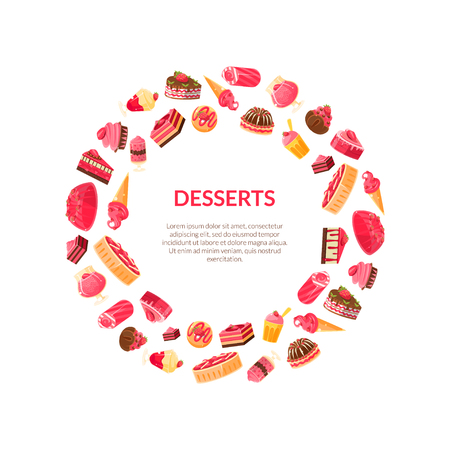 Delicious Desserts Round Frame, Confectionery, Candy Shop Design Element Vector Illustration Illustration