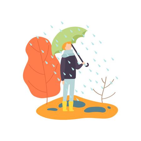 Boy Walking in Rain Under Umbrella, Autumn Season Vector Illustration on White Background. Ilustrace