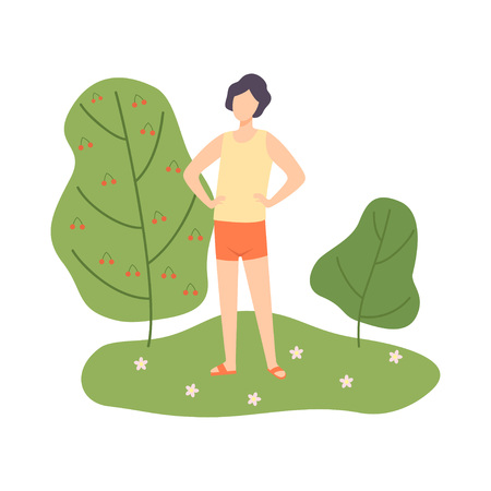 Young Man Relaxing in Nature in Summer Park Vector Illustration on White Background.  イラスト・ベクター素材