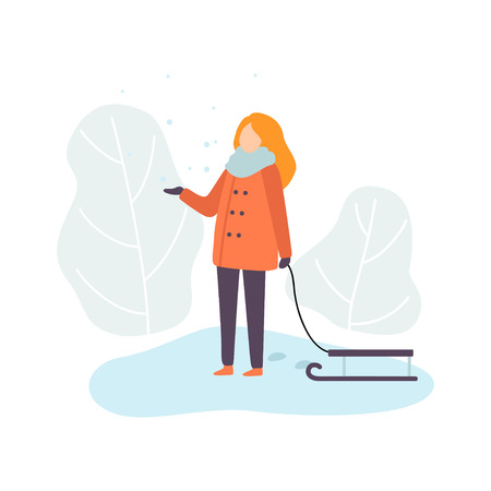 Girl Wearing Warm Winter Clothes Standing with Sledge, Winter Season Outdoor Activities Vector Illustration on White Background.