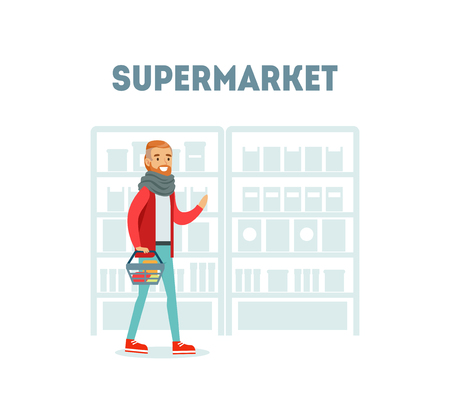 Male Buyer Shopping at Supermarket with Basket, Daily Grocery Purchase Vector Illustration Illustration