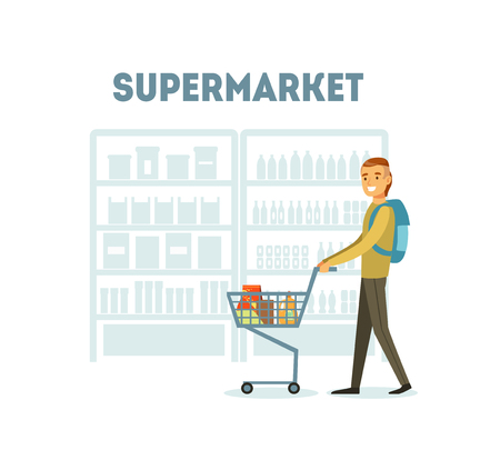 Male Buyer Shopping at Supermarket with Cart Full of Groceries, Daily Grocery Purchase Vector Illustration
