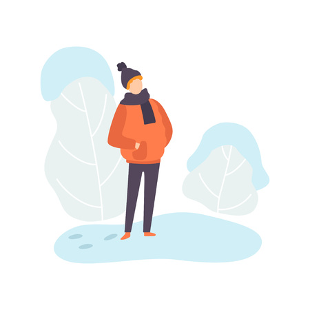 Boy Wearing Warm Winter Clothes, Winter Season Outdoor Activities Vector Illustration on White Background.