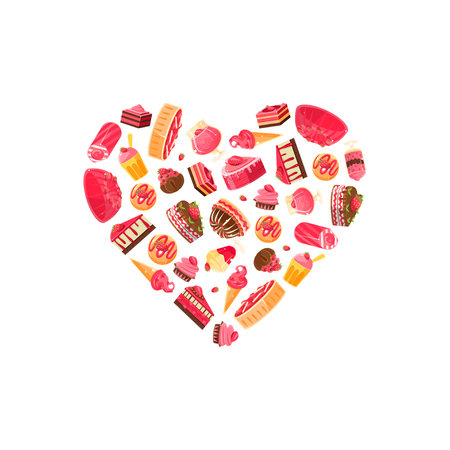 Delicious Desserts in Shape of Heart, Confectionery, Candy Shop Design Element Vector Illustration Illustration