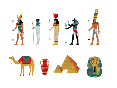 Ancient Egypt Cultural Symbols Set, Gods and Goddess Vector Illustration on White Background. Иллюстрация