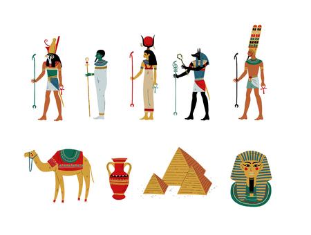 Insieme di simboli culturali dell'antico Egitto, divinità e dea illustrazione vettoriale su sfondo bianco.