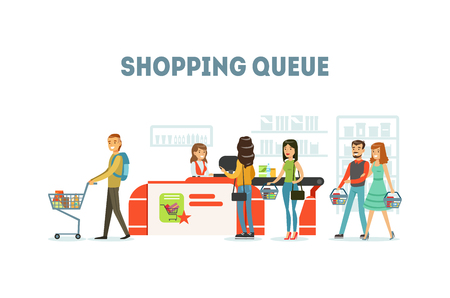 Shopping Queue, People Purchasing in Supermarket, Queue of Different People in Grocery Store Vector Illustration Stock Illustratie
