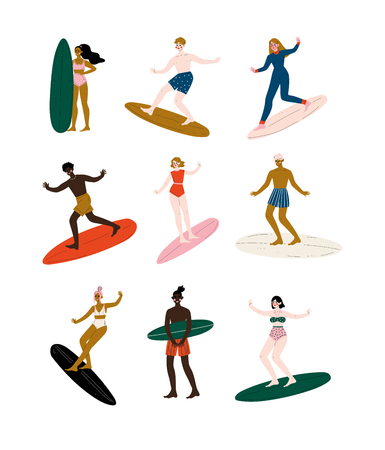 People Riding Surfboards set, Male and Female Surfers Enjoying Summer Vacation on Sea or Ocean Vector Illustration