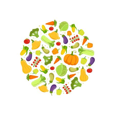 Farm Fresh Colorful Vegetables in Circular Shape Vector Illustration on White Background. 向量圖像