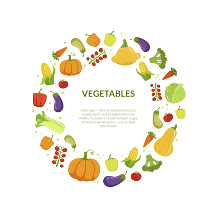 Round Frame of Different Fresh Vegetables Vector Illustration on White Background.
