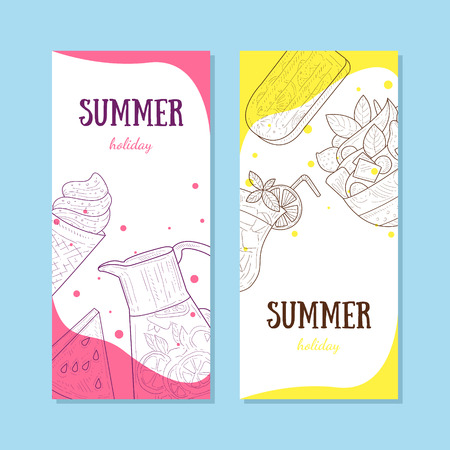 Summer Holiday Banners Set with Food to Summertime Vector Illustration, web design