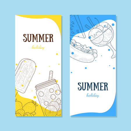 Summer Holiday Banners Set with Summertime Food Vector Illustration