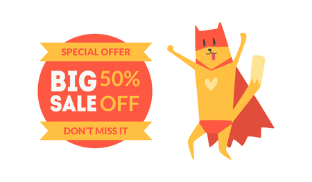 Big Sale Special Offer, 50 Percent Off Banner with Red Funny Cat Vector Illustration on White Background. 向量圖像