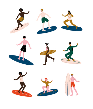 People of Different Nationalities Riding Surfboards set, Male and Female Surfers Enjoying Summer Vacation on Sea or Ocean Vector Illustration on White Background.