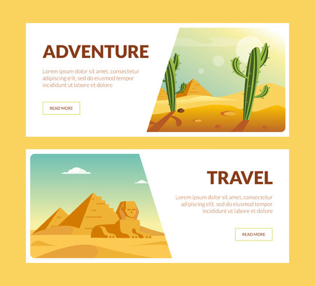 Travel Adventure Horizontal Banners Set, Summer Holidays Vector Illustration, Web Design Foto de archivo - 124241900
