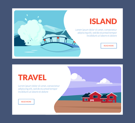Island Travel Horizontal Banners Set, Travel Landscape with Landmarks, Nature Places, Summertime Holidays Adventure Vector Illustration, Web Design Illusztráció