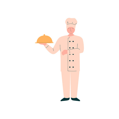 Male Chef Holding Metal Food Platter Cloche, Professional Kitchener Character in Uniform Preparing Delicious Dish Vector Illustration on White Background.