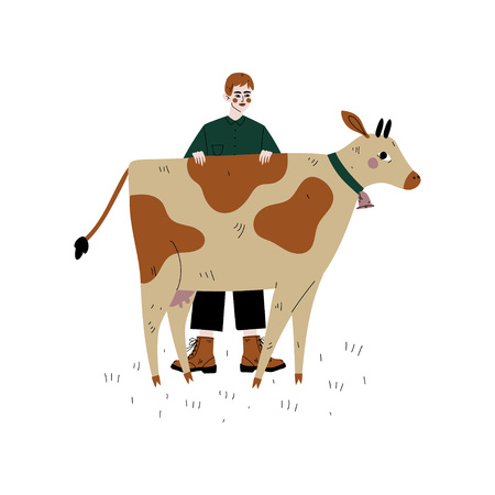 Male Farmer Standing Next to Spotted Cow, Dairy Cattle Animal Husbandry Breeding Vector Illustration on White Background.