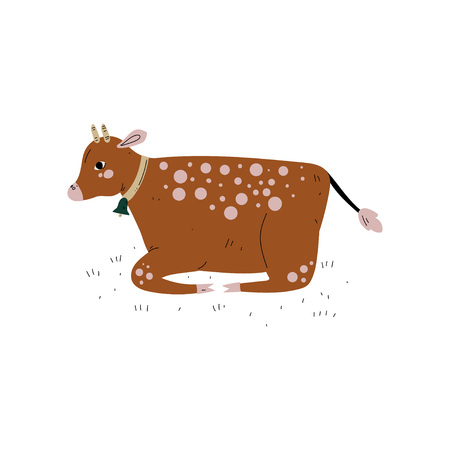 Brown Cow Lying on Grass, Dairy Cattle Animal Husbandry Breeding Vector Illustration on White Background.